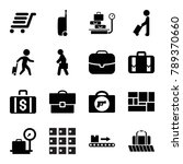 suitcase icons. set of 16... | Shutterstock .eps vector #789370660