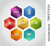 hexagon label set   colorful... | Shutterstock .eps vector #789371914
