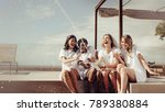 cheerful bride and bridesmaids... | Shutterstock . vector #789380884