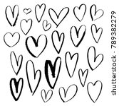 hand drown hearts set for... | Shutterstock .eps vector #789382279