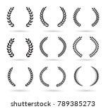 set of black laurel wreaths... | Shutterstock .eps vector #789385273