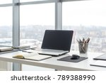 workplace with notebook laptop... | Shutterstock . vector #789388990