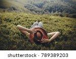stylish traveler woman in hat... | Shutterstock . vector #789389203