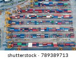 containers yard shot from drone ...   Shutterstock . vector #789389713