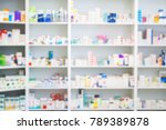 medicines arranged in shelves... | Shutterstock . vector #789389878