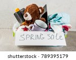 plastic spring sale box with... | Shutterstock . vector #789395179