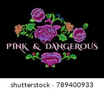 embroidery pink and dangerous... | Shutterstock .eps vector #789400933