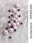 merenga with blueberries  | Shutterstock . vector #789405184