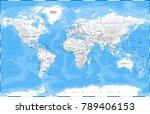 world map physical white  ... | Shutterstock .eps vector #789406153