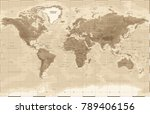 world map physical vintage  ... | Shutterstock .eps vector #789406156