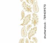 golden vector border ornamental ... | Shutterstock .eps vector #789409570
