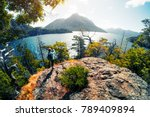 woman hiker taking a pictures... | Shutterstock . vector #789409894