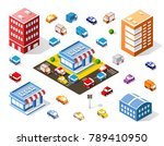 isometric colorful 3d shop | Shutterstock .eps vector #789410950