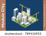 module isometric city of houses | Shutterstock .eps vector #789410953