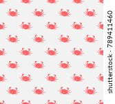 seamless pattern with red crabs ... | Shutterstock .eps vector #789411460