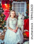 sweet girl in white dress ... | Shutterstock . vector #789413620