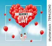 cartoon lover couple on swing... | Shutterstock .eps vector #789415240