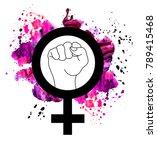 female woman feminism protest... | Shutterstock . vector #789415468
