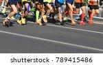 marathon runner legs running on ... | Shutterstock . vector #789415486