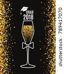 grad 2018 class of with glass...   Shutterstock .eps vector #789417070