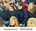 fans cheering in stadium people ... | Shutterstock . vector #789418468