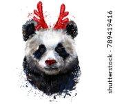 cristmas  portrait of  panda | Shutterstock . vector #789419416