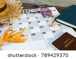 diary and calendar with... | Shutterstock . vector #789429370