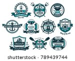 sea anchor and boat helm... | Shutterstock .eps vector #789439744