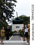 Small photo of Balti ( Beltsy) , Moldova , may 9 , 2017 Victory parade in the city, The legendary T-34 tank