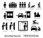 security guards icons. stick... | Shutterstock . vector #789454546