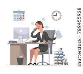 multihanded businesswoman or... | Shutterstock .eps vector #789455938