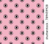seamless open eye pattern on... | Shutterstock .eps vector #789459928