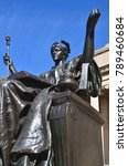 Small photo of NEW YORK CITY USA OCT 27: Alma Mater is a bronze sculpture of the goddess Athena by Daniel Chester French which is located on the Low Memorial Library campus of Columbia University