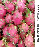 Small photo of Fresh Dragon fruit on shelf in the supermarket use for background. Hylocercus undatus (Haw) Brit. & Rose.