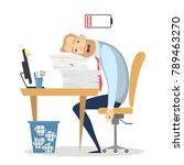 tired businessman at office...   Shutterstock .eps vector #789463270