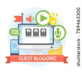 guest blogging concept. writing ... | Shutterstock .eps vector #789463300