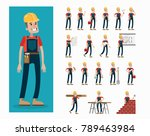 builder character set. man in... | Shutterstock .eps vector #789463984