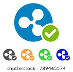 ripple coin valid icon. vector... | Shutterstock .eps vector #789465574