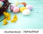 colorful easter eggs in nest... | Shutterstock . vector #789469969