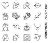 vector set of black line love... | Shutterstock .eps vector #789474100