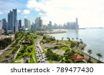 Small photo of Aerial view of the modern skyline of Panama City , Panama