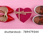 man and woman shoes  top view.... | Shutterstock . vector #789479344