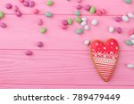 heart shaped cookie and copy... | Shutterstock . vector #789479449