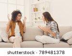 two female friends sitting on... | Shutterstock . vector #789481378