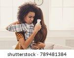 woman hugging her depressed... | Shutterstock . vector #789481384
