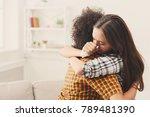 woman hugging her depressed... | Shutterstock . vector #789481390