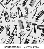seamless pattern with barber... | Shutterstock .eps vector #789481963