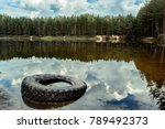 Old Car Tire On The Lake Shore