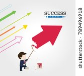 businessman drawing arrow on...   Shutterstock .eps vector #789496918