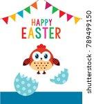 happy chicken easter day... | Shutterstock .eps vector #789499150